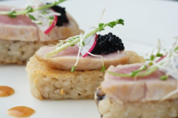Yellow Fin Tuna Tataki on Crispy Risotto Cake
